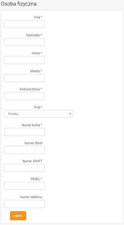 webePartners uzupełnianie danych