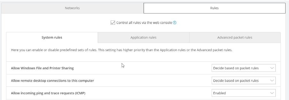 Zakładka rules w AVG Cloud.
