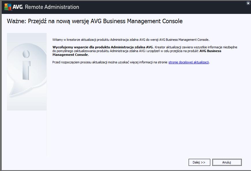 Poradnik jak dokonać migracji do nowej wersji AVG Business Management Console.