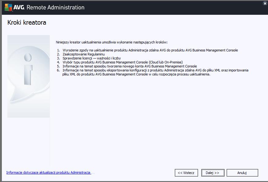 Poradnik jak przeprowadzić uaktualnienie do AVG Business Management Console.