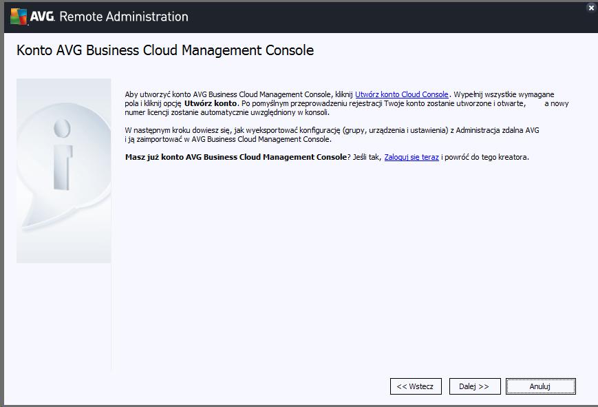 Gdzie stworzyć konto Cloud Console do AVG Business Cloud Management Console.